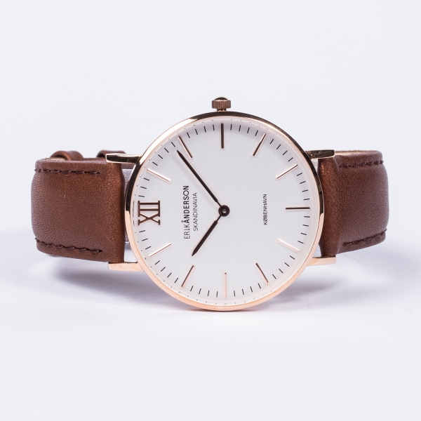 København - Rose Gold / Brown Leather